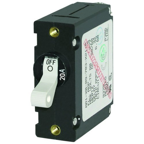 Single-circuit Lighting System (Blue Sea 7214 AC / DC Single Pole Magnetic World Circuit Breaker - 20 Amp by Blue Sea Systems)