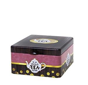 Boîte à thé–Il est toujours temps de thé–Mélange classique rétro vintage style–Cloisonne 4Compartiment Tin