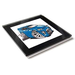 Koolart Dessin Voiture Opel Monaro Vxr Table en Verre Coaster avec Coffret Cadeau - Bleu, 10cm x 10cm