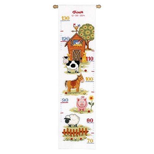 Vervaco Zählmuster Auf dem Bauernhof Messlatte Zählmusterpackung-Stickpackung im gezählten Kreuzstich, Baumwolle, Mehrfarbig, 18 x 70 x 0.3 cm -