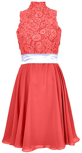 MACloth Women High Neck Lace Chiffon Short Prom Dress Cocktail Party Formal Gown Rot