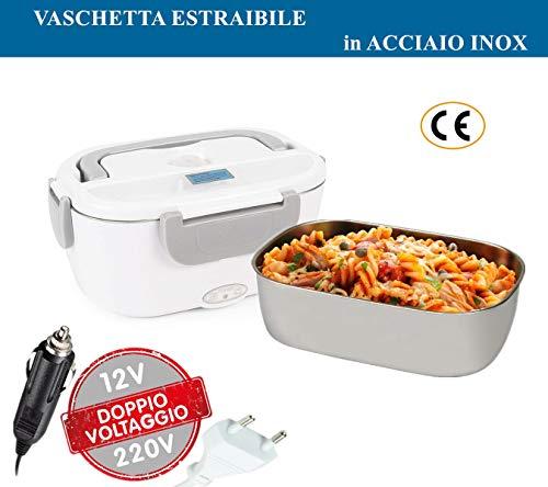 Lunch Box Elettrico 2 in 1 Contenitore elettrico Portavivande Elettrico Scaldavivande per l'ufficio, casa, scuola 12V e 220V 40W