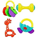 Cable World® High Quality Non Toxic Baby Toys Rattle Set Of 4 Pieces For Infants And Toddlers - Multi Color