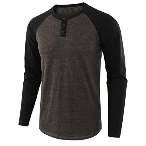 Yvelands Herren Mode Langarm T-Shirts O-Neck Solid Patchwork Tops Bluse Sweatshirt Pullover Straßenkleidung(Kaffee,L) - Erwachsene Heavy Blend Crew Neck