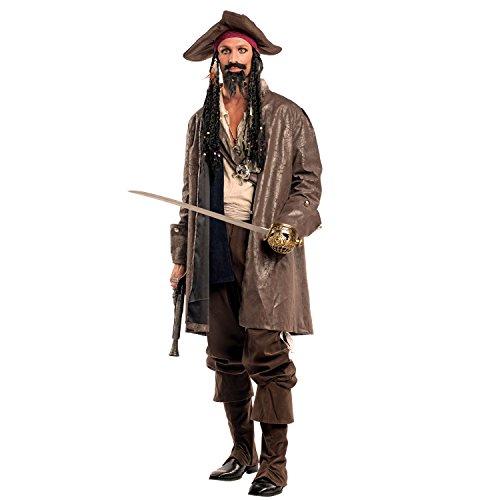 Krause & Sohn Herren Kostüm Piratenkapitän Jack inkl. Kopftuch mit Rasta-Haaren Seeräuber Pirat Fasching Karneval Karibik Freibeuter ()
