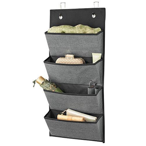 mDesign étagère suspendue en fibre synthétique sans perçage - rangement suspendu avec 4 grandes poches - étagère murale pour chambre d'enfants, chambre à coucher, etc. - gris ardoise/noir