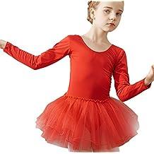 EOZY-Tutu per Danza Bambina Ragazza Vestito Balletto Body Manica Lunga  Leotard Costume Rosso Vita addf7a19b7d