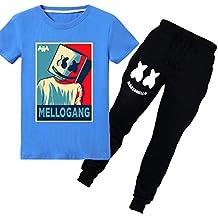 FLYCHEN Niños Chándales Deportiva de Primavera Estilo Marshmello DJ Música Electrónica Cool Rap Camiseta con Pantalón