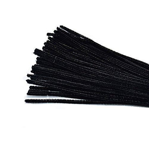 Demarkt Pfeifenreiniger Chenilledraht für DIY Handwerk Dekorationen DIY Material 30cm x 6mm Schwarz