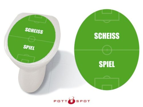 Pott Spot 1-PS-020 Klebefolie, Motiv - Scheiss Spiel für alle Standard Wc-Deckel (Nicht für innen gewölbe Deckel geeignet), Größe 32x40 cm Pott Spot