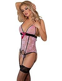 saphira dessous. Bustier in rosa Spitze. String und Strümpfe enthalten. Body. Teddy. Korsett. Geeignet für die Größen S bis L.