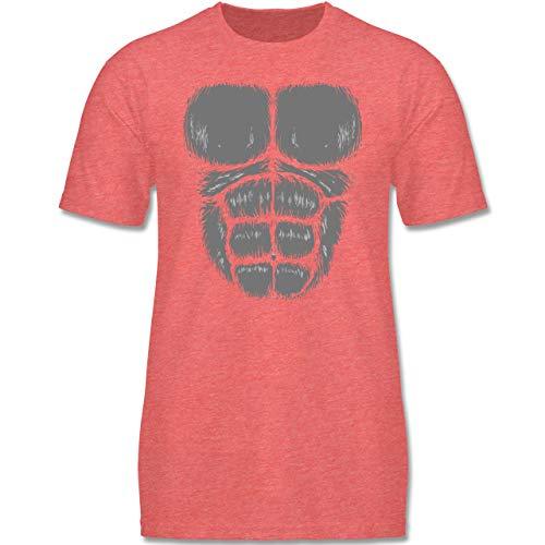 (Karneval & Fasching Kinder - Gorilla Kostüm Fasching - 134-146 (9-11 Jahre) - Rot meliert - F140K - Jungen T-Shirt)