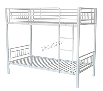 FoxHunter 3FT Single Metal Frame Bunk Bed Children Kids Twin Sleeper No Mattress Bedroom Furniture White MBB03