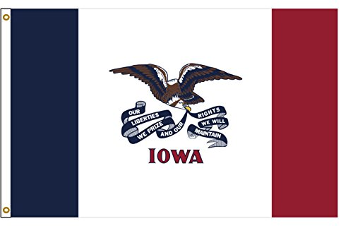 Nylon Flag (Flags Poles And More Iowa 3ftx5ft Nylon State Flagge 3x 5Made in USA 3'x5')