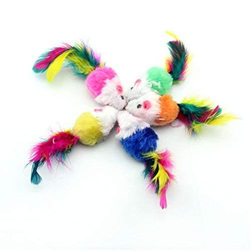 DaQao Plüschbär Ball Spielzeug 20 STK Weiche Fleece Falsche Maus Katze Spielzeug Bunte Feder Lustige Spielen Spielzeug - Zufällige Farbe Bite Mit Sound Reinigung -