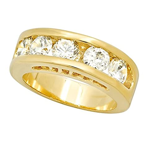 7mm Gold Plated Channel Set Round CZ Band Ring, Size 5