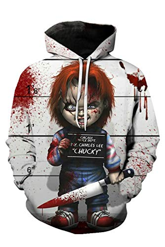 MingoTor Herren Damen für Child's Play Chucky Kapuzenjacke 3D Pullover mit Kapuze Sweatjacke Hoodie Cosplay Kostüm Unisex (Chucky Childs Play Kostüm)