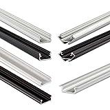 LED-Profil Set mit 1 Meter Aluminium Eckprofil schwarz, 2 schwarzen Endkappen, 2 Montageklammern und matter Abdeckung | für LED-Streifen RGB Strips Lichtband