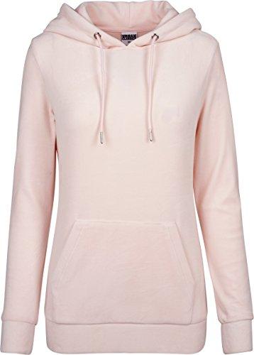 Urban Classics Ladies Velvet Hoodie, Samt weicher Velour Kapuzenpullover für Damen, Kapuzensweater - pink, Größe L (Wieder Hooded-sweatshirts)