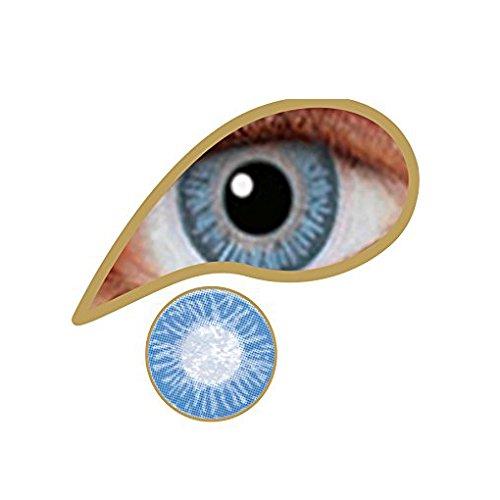 """Farbige Kontaktlinsen """" Sky One"""" Natürliche blaue Augenfarbe- farbige Kontaktlinsen als Jahreslinsen ohne Stärke mit gratis Kontaktlinsenbehälter"""