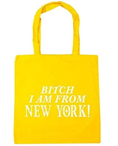 hippowarehouse Bitch I Am From New York Sac Shopping Gym Sac de plage 42cm x38cm, 10litres - jaune - Taille unique