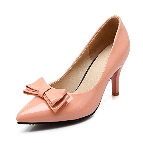 AgooLar Damen Ziehen Auf Spitz Zehe Stiletto Pu Leder Rein Pumps Schuhe Pink  [B01LL6OC4G]