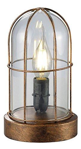 Trio Leuchten Tischleuchte Birte, kupfer antik, glas klar 503800162