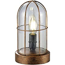 Trio 503800162 Birte Lampada da Tavolo, in Rame Antico, Vetro Trasparente