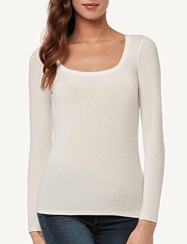 Intimissimi Damen Langarm-Shirt aus Modal mit tiefem Rundhalsausschnitt Elfenbein - 2127