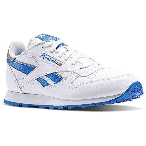 Reebok Classic Leather Reflect, Chaussures de Running Entrainement Mixte Enfant Blanco / Azul / Plateado (White/Blue Sport/Silver Met)