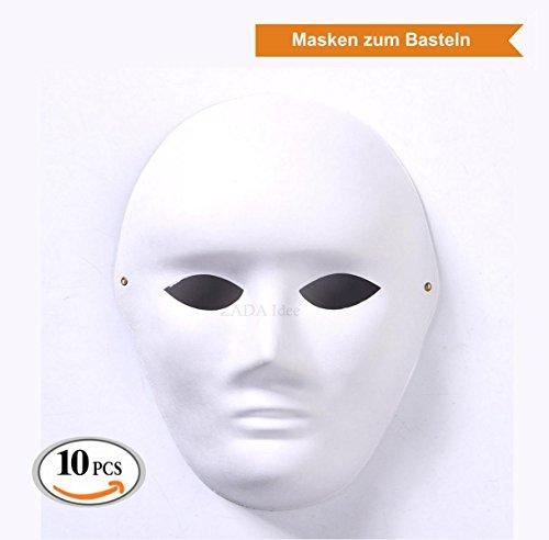 Volle weiße Maske, unbemalt (10 Stück, (Kostüm Männer Für Einfache Ideen)