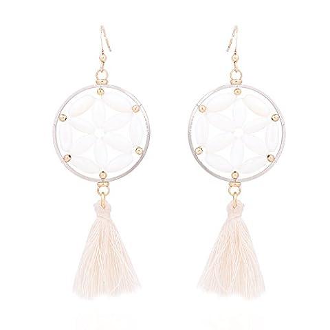 BEDERO Frauen baumeln Tropfen Quaste Ohrringe Tridacnidae Spp Beads (Bead Tropfen Baumeln Ohrringe)
