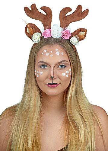 Rehkitz Halloween Kostüm - Das Kostümland REH Rentier Haarreif mit Blüten - Romantischer Kopfschmuck Kostüm Fasching Halloween Weihnachten Cosplay Animé Fotoshooting