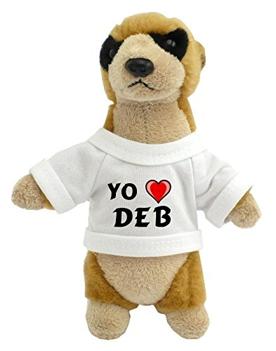 Personalized meerkat plush toy (toy) with I love Deb on the shirt (first name / surname / nickname)