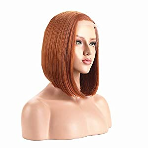 ALICE Lace Front Wigs Orange Bob Wig, 14