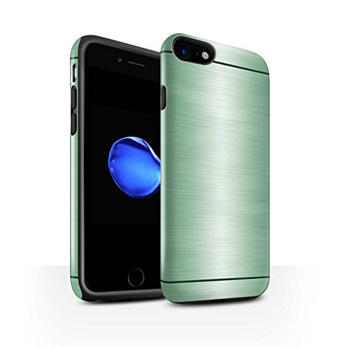 STUFF4 Glanz Harten Stoßfest Hülle / Case für Apple iPhone 7 / Kupfer Muster / Gebürstetem Metall Mutser Kollektion Grün