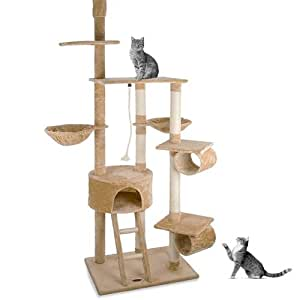 Happypet CAT005-2 Cat Scratcher Cat Tree Activity Centre Scratching Post ceiling high 2,30 to 2,60 tall Beige