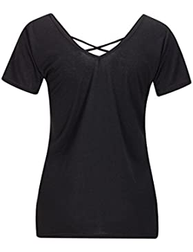 Beauty7 Camisas Mujeres Ventaje Cruz V Cuello Manga Corta Camisetas Respirable Blusas Casual T-Shirt Tops Tees...