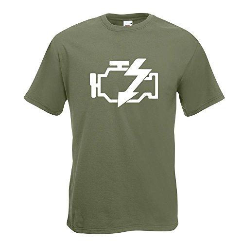 KIWISTAR - Motorkontrollleuchte T-Shirt in 15 verschiedenen Farben - Herren Funshirt bedruckt Design Sprüche Spruch Motive Oberteil Baumwolle Print Größe S M L XL XXL Olive