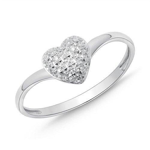585er Weißgold-Ring mit Herz und 3 Diamanten 0,015 ct.