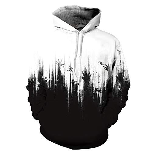 Felpa con cappuccio uomo costume di halloween 3d stampa mostro hoodie hooded maglietta giacca pullover uomo maglione casuale manica lunga hoodies cosplay serie di halloween bianco cranio stampa