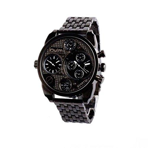 OULM Uhr Classic Retro Persönlichkeit Herrenuhren / Zwei Zeitzonen / Legierung Stahl Business Luxus Kleid Armbanduhr (Schwarz)