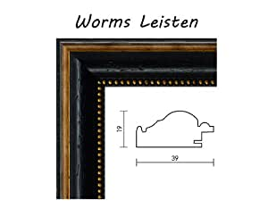 Worms cadre en noyer massif 76 x 105 cm-couleur :  noir avec ruban doré pour décorations 105 x 76 cm avec verre acrylique anti-reflet