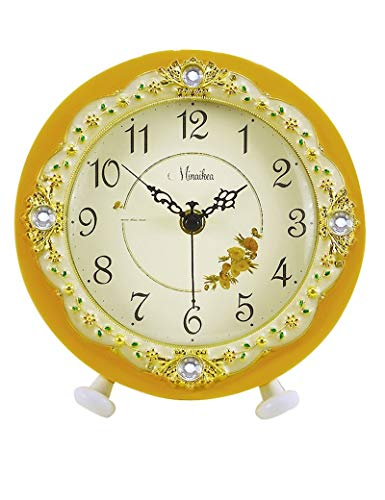 CAI Bell-Wanduhr Metall Genaue runde Candy Farbe Stumm die Uhr Europäische Mode Einfache Frische Ideen die Uhr Moderne Pastoralen Wohnzimmer Quarz-1 X Aa Batterie (Nicht Enthalten),D