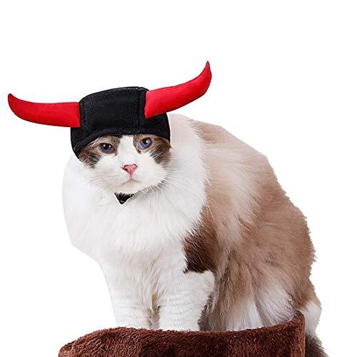 FineInno Haustier Halloween Kostüm Hut Katze Kopfbedeckung Kopfbedeckung Tier Oktopus Form Kleid Up Kapuze Umhang Outfits für Hund und Katze, M, Style 2 Demon