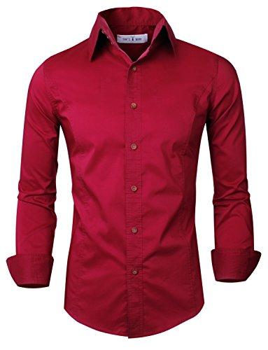 Tom's Ware Camicia-Casual di Lusso Manica Slim Fit a Lungo-Uomini TWNMS313S-WINE-L (US S/M)