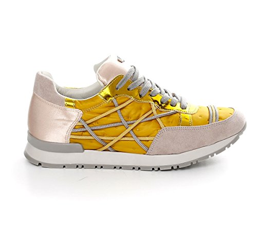Scarpe Sneakers L4K3 LAKE Donna Mr BIG Ecocamoscio Piumino Raso Giallo (40 EU)