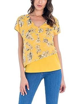 Salsa Camiseta Floral con Mezcla de Tejidos