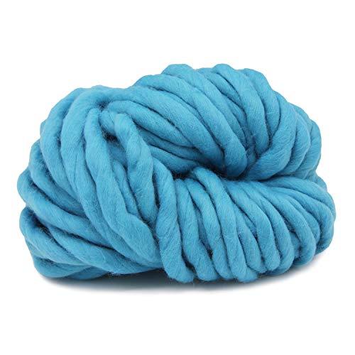 Floraknit Merinowolle, super grobes Garn, Wolle für Fingerstricken, Häkeln, Filzen, Teppiche, Decken und Handarbeiten 20mm-0.55LB himmelblau (Super Sperrige Garn Für Teppiche)