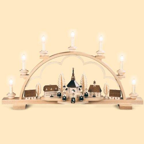 Candelero decorativo originario de los Montes Metálicos (Erzgebirge) pueblo de Seiffern, 64 cm. de largo, natural, eléctricamente iluminado (230V, 50Hz), original de los Montes Metálicos (Erzgebirge) hecho por la empresa Müller del pueblo de Seiffen
